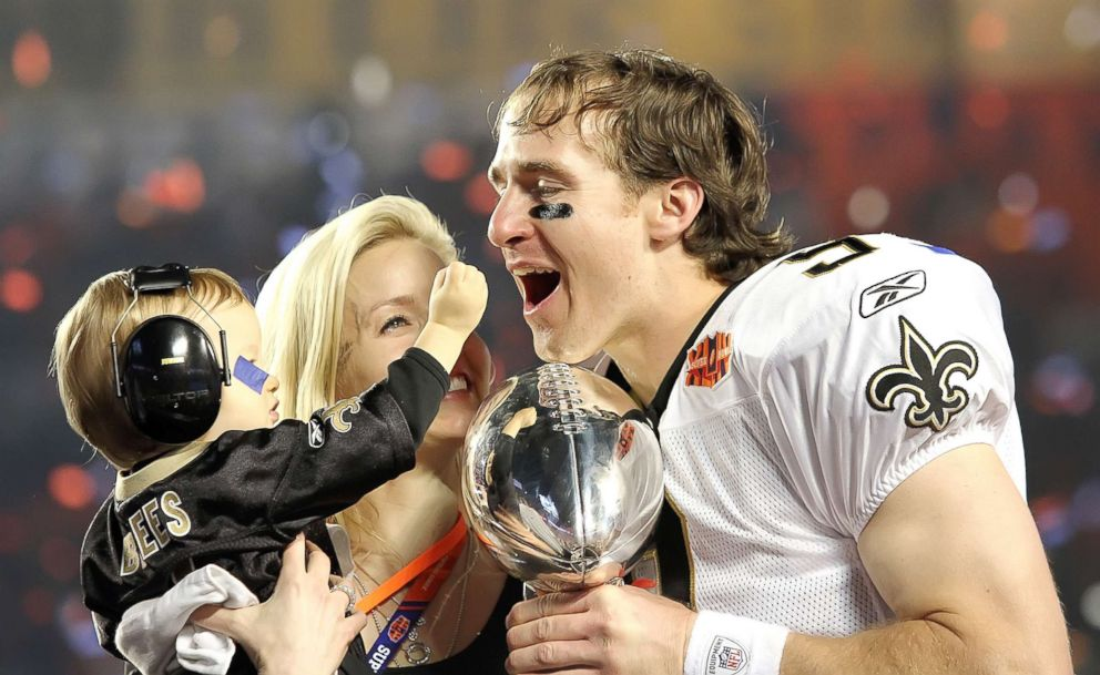 New Orleans Saints quarterback Drew Brees celebrates with his wife, Brittany, and son, Baylen. The New Orleans Saints beat the Indianapolis Colts 31-17, Feb. 7, 2010, in Super Bowl XLIV at Sun Life Stadium in Miami Gardens, Fla.