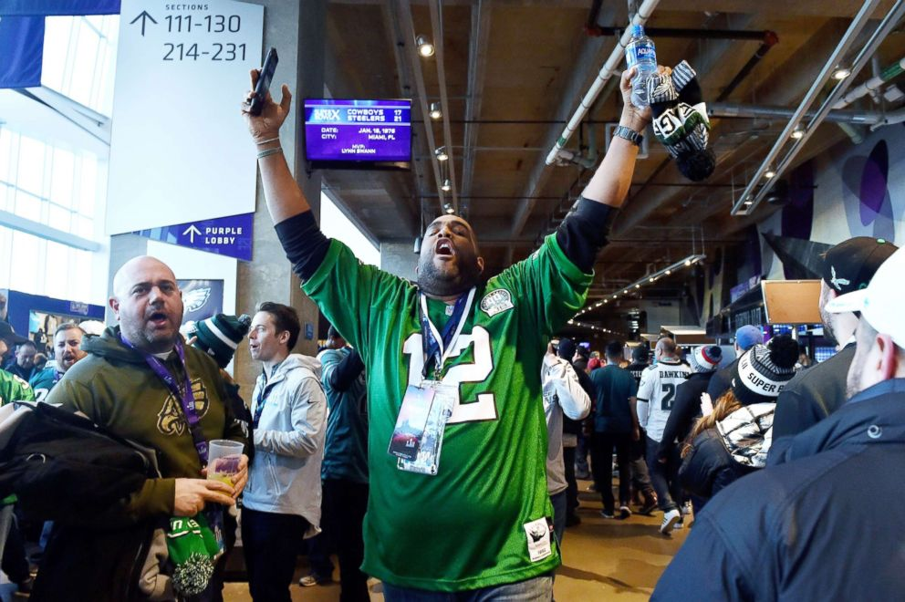 PHOTO: A Philadelphia Eagles fan reacts prior to Super Bowl LII against the New England Patriots at U.S. Bank Stadium in Minneapolis, Feb. 4, 2018.