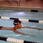 Equinox instructor Cece Marizu demonstrates a pool workout.