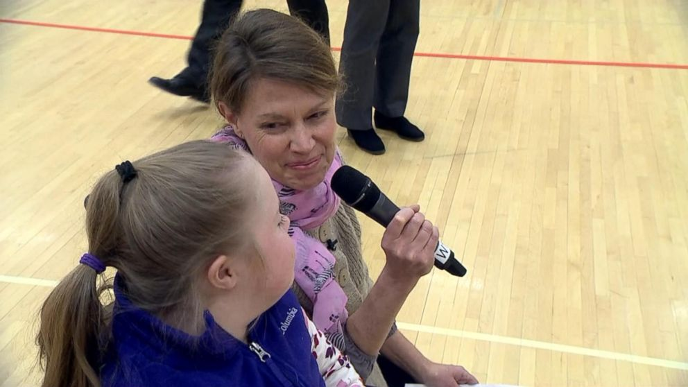 PHOTO: Talia Duffs mother, Jocelyn Duff, visited Ipswich Middle School Jan. 3 to share the news with classmates.