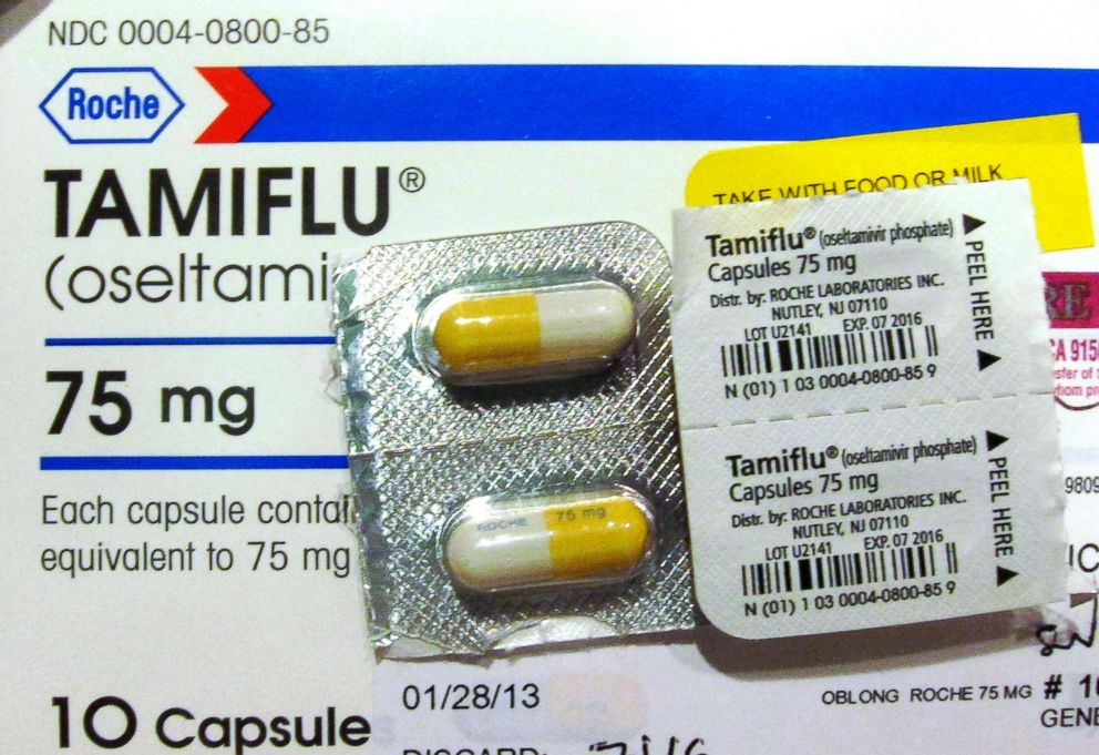PHOTO: Four capules of Tamiflu are pictured on a Tamiflu box in Burbank, Calif., Jan. 31, 2013.