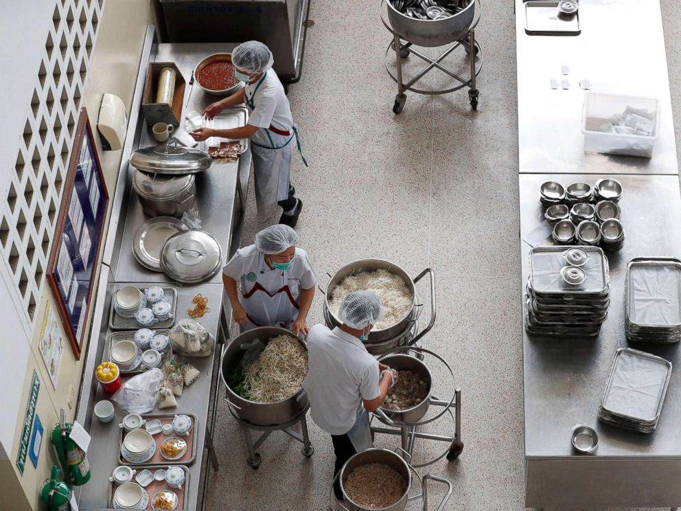 PHOTO: Thai nutritionists prepare foods at Chiangrai Prachanukroh Hospital, where eight boys of a soccer team are staying after they were rescued from Tham Luang cave in Chiang Rai province, Thailand, July 10, 2018.