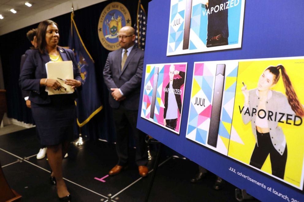 PHOTO: State Attorney General Letitia James leaves the podium after announcing a lawsuit against e-cigarette giant Juul on Nov. 19, 2019, in New York.