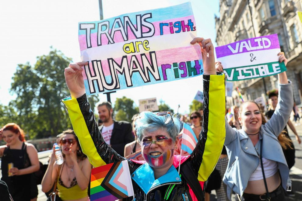 PHOTO: Protesters hold up placards during the first ever Trans Pride March in London, Britain Sept. 14, 2019.
