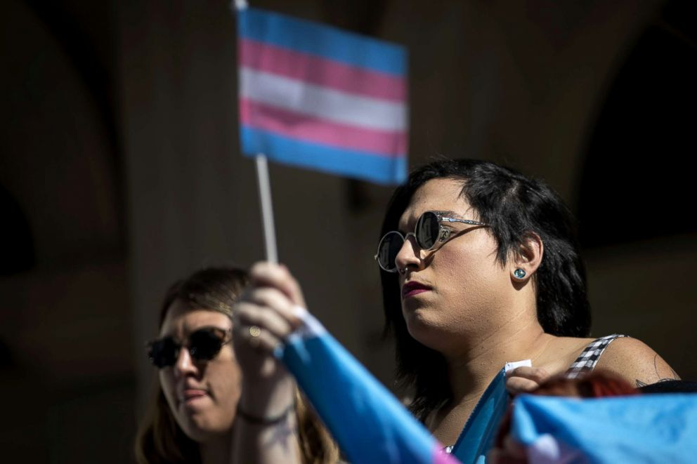PHOTO: L.G.B.T. activists and their supporters rally in support of transgender people on the steps of New York City Hall, Oct. 24, 2018, in New York City.