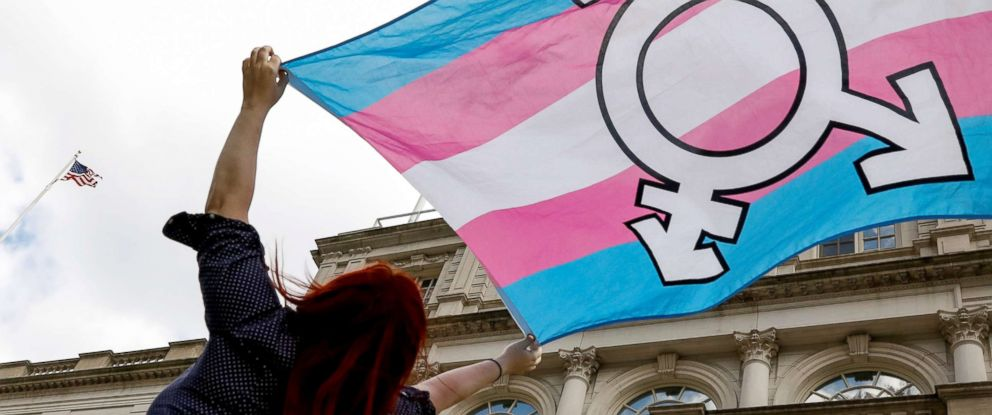 PHOTO: A person holds up a flag during rally to protest the Trump administrations reported transgender proposal to narrow the definition of gender to male or female at birth, at City Hall in New York City, Oct. 24, 2018.