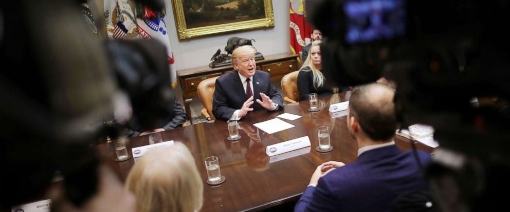 PHOTO: President Donald Trump delivers remarks to reporters in the Roosevelt Room at the White House, Jan. 23, 2019.