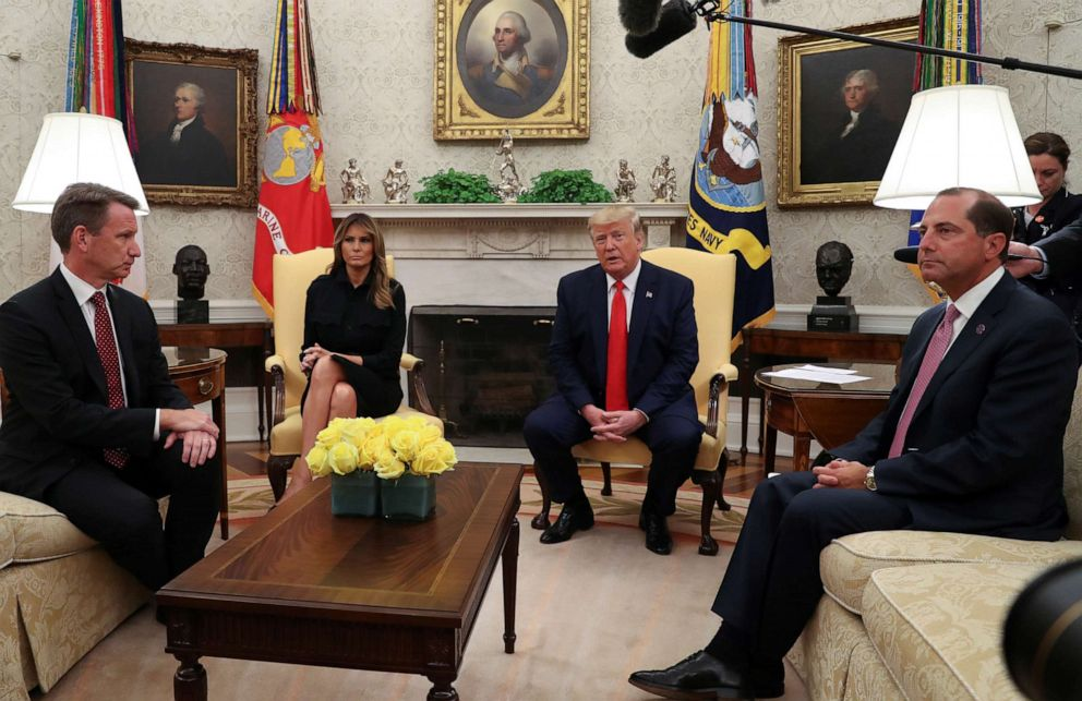 PHOTO: President Donald Trump speaks about banning non-tobacco flavored vaping products in the Oval Office, Sept. 11, 2019.