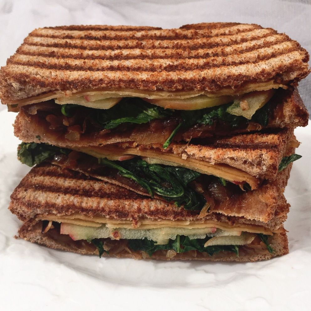 PHOTO: A turkey, apple, spinach, and caramelized onion-pressed sandwich from The Beauty Diet.