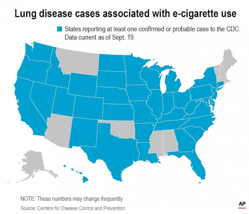 PHOTO: A map released by the Associated Press on Sept. 19, 2019, marks states reporting at least one confirmed or probable case to the CDC. The data was current as of Sept. 17.