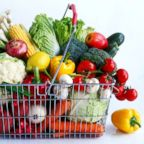 Assorted vegetables in a shopping basket are pictured in this undated stock photo.