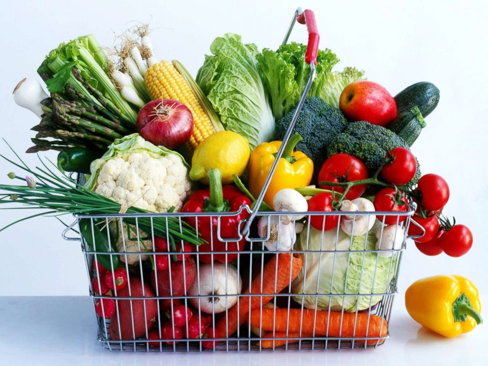 PHOTO: Assorted vegetables in a shopping basket are pictured in this undated stock photo.