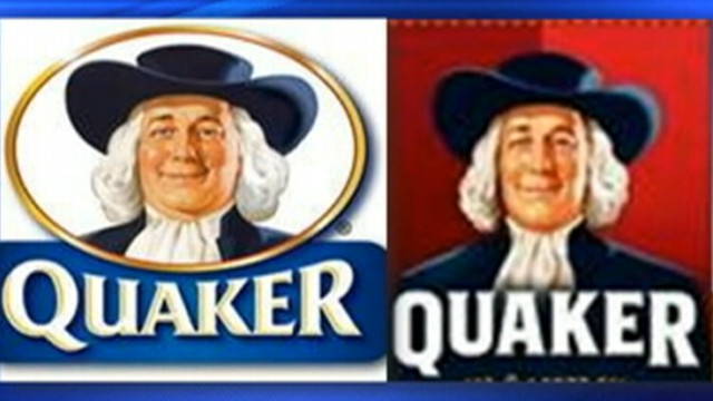 VIDEO: The face of Quaker Oatmeal appears younger and thinner on product boxes.
