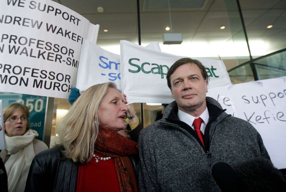 PHOTO: British Doctor Andrew Wakefield (R) and his wife, Carmel arrive at the General Medical Council (GMC) in central London, on January 28, 2010.