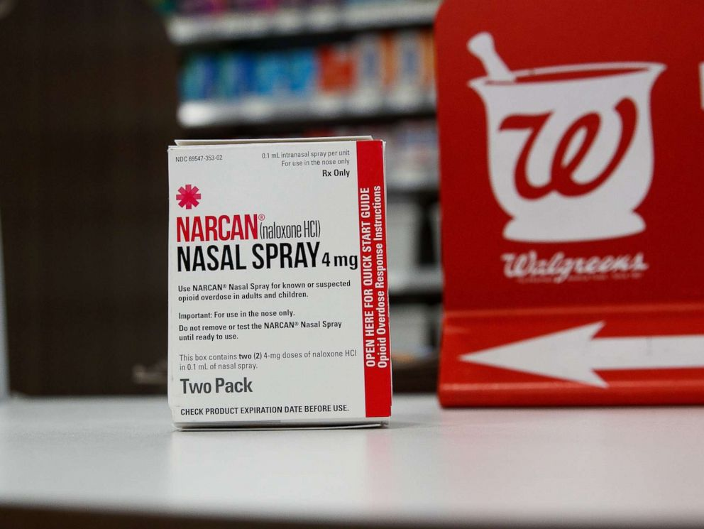 PHOTO: In this photo illustration, a package of NARCAN (Naloxone) nasal spray sits on the counter at a Walgreens pharmacy, Aug. 9, 2017, in New York City.