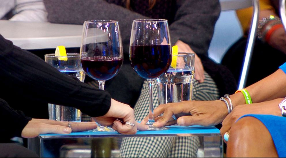 PHOTO: A five-ounce serving of wine is pictured on the left, compared to a typical serving of wine at a restaurant, pictured on the right.