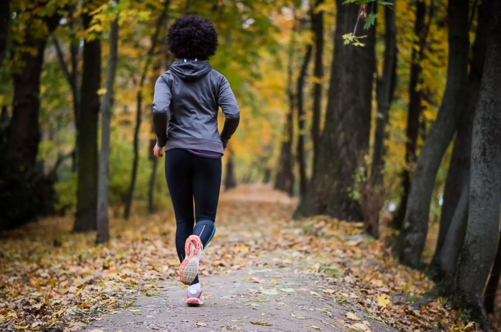 A woman runs along the path in this undated stock photo.