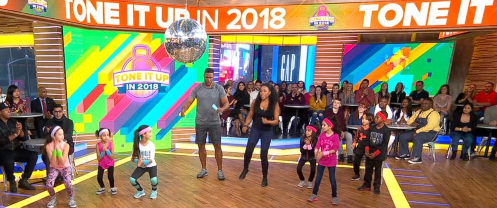 "PHOTO: Celebrity trainer Latreal Mitchell shares exercises for kids on ""Good Morning America,"" Jan. 12, 2018."