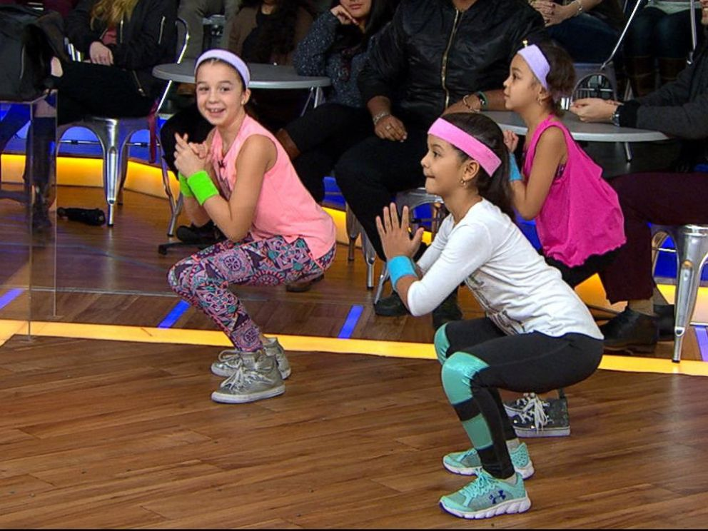 PHOTO: Kids perform workout moves from celebrity trainer Latreal Mitchell on Good Morning America, Jan. 12, 2018.