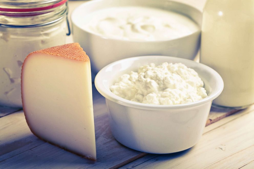 PHOTO: Cheese, yogurt and milk are pictured in an undated stock photo.