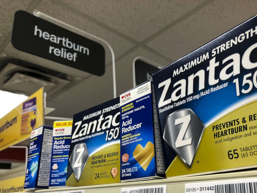 PHOTO: Packages of Zantac, a popular medication which decreases stomach acid production and prevents heartburn, sit on a shelf at a drugstore, Sept. 19, 2019 in New York City.