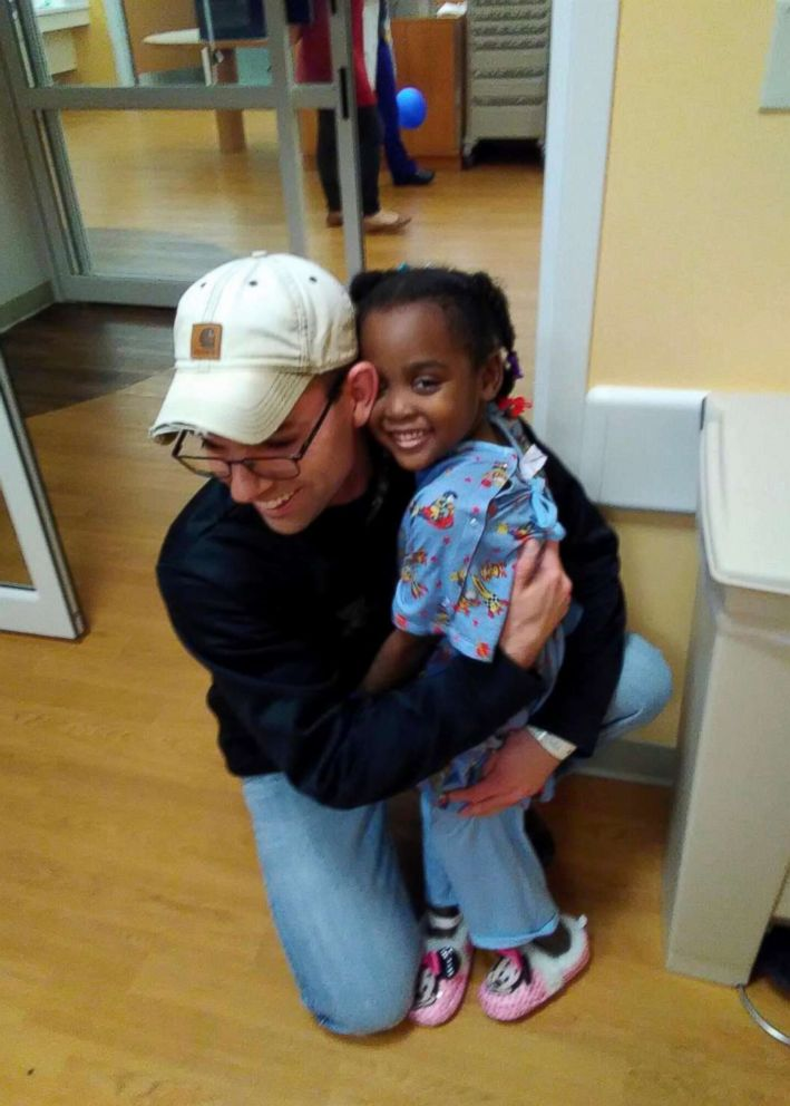 PHOTO: Kristian Vaughn, 27, meets with Zanyah Brown, 4, after he donated his liver to her.