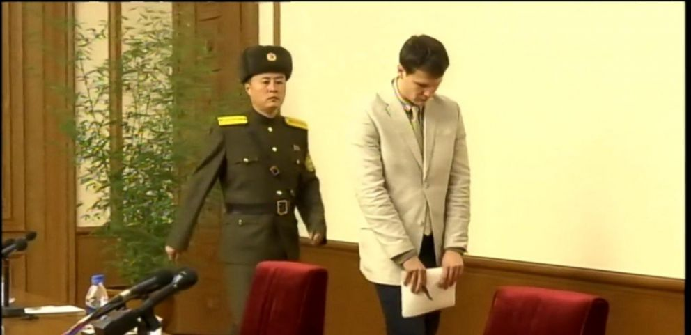 VIDEO: Otto Warmbier, 21, apologized during a news conference for allegedly stealing a political banner, which is considered a crime against the state.
