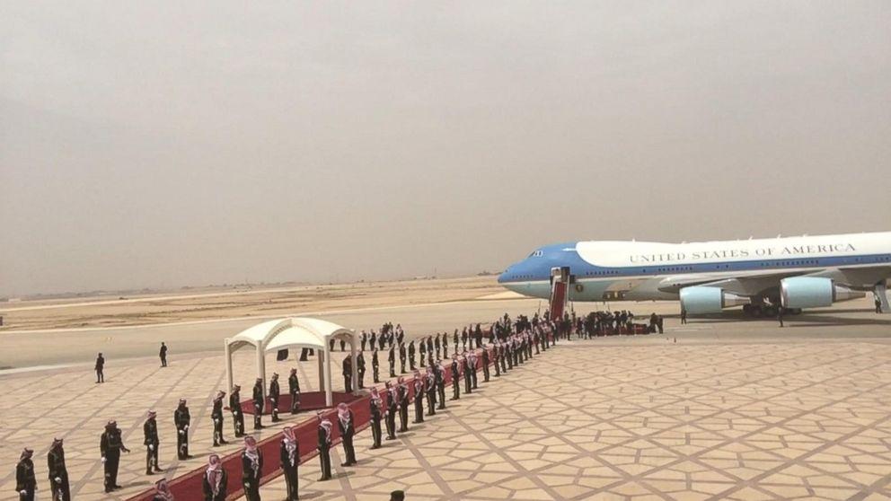 Trump arrives in Riyadh, Saudi Arabia, on first foreign trip