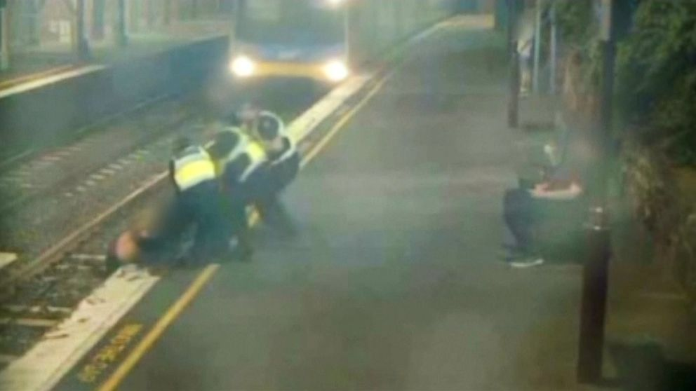 Dramatic video shows woman nearly hit by a train at Australian