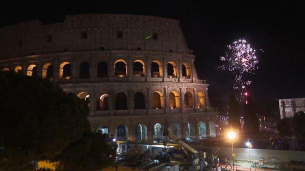 Colosseum provides backdrop for fireworks in Rome