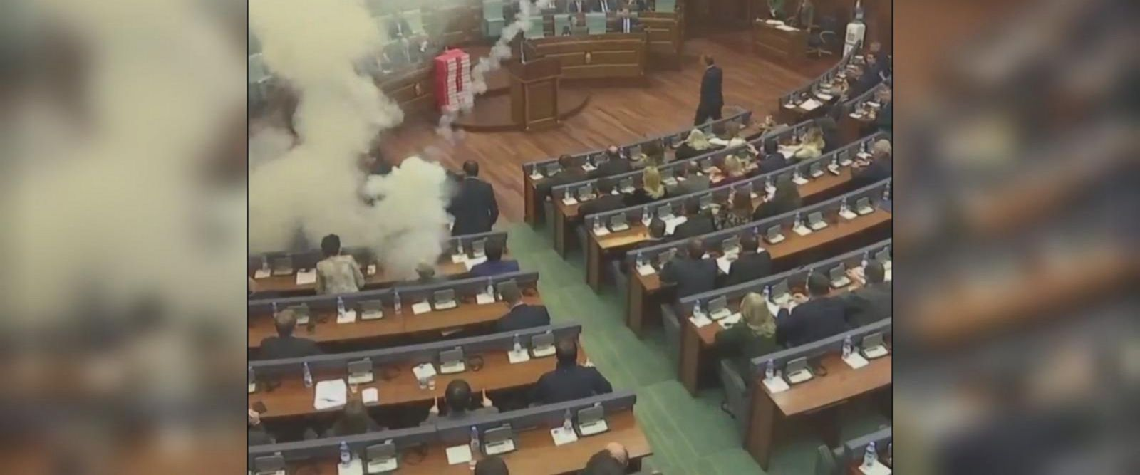 Kosovo opposition lawmakers used tear gas to disrupt a parliamentary vote on a border deal Wednesday, according to The Associated Press.
