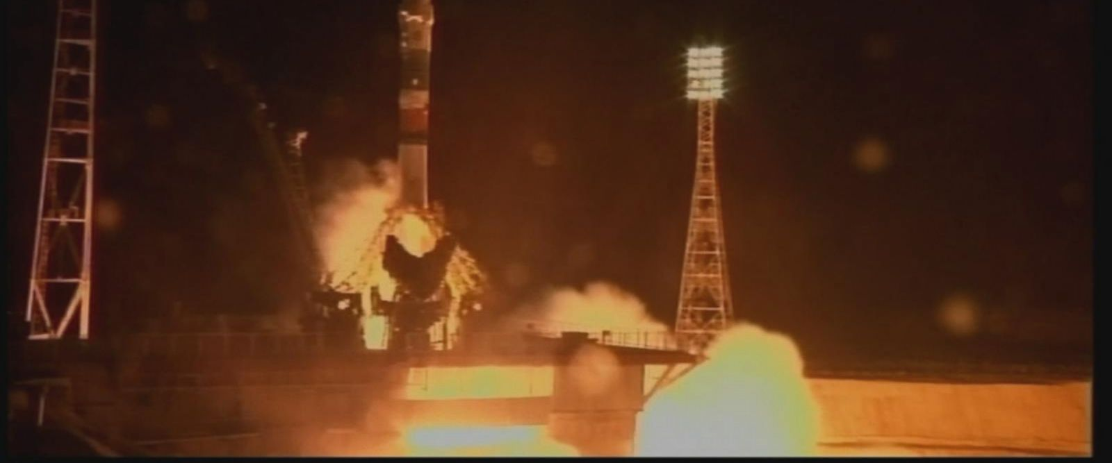 A rocket carrying two American astronauts and a Russian cosmonaut to the International Space Station has blasted off successfully.