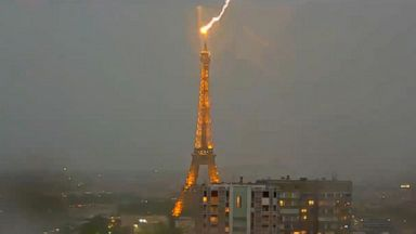 spectacular video of eiffel tower struck by lightning video Spectacular video of Eiffel Tower struck by lightning Video 180530 vod orig eiffel lightning hpMain 16x9 384