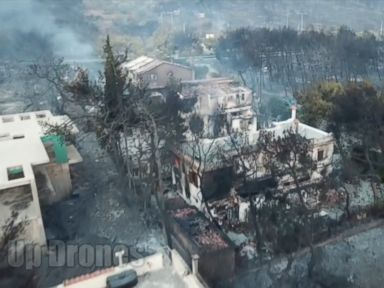 WATCH: Wildfire devastation in Greece seen from the ground and the sky