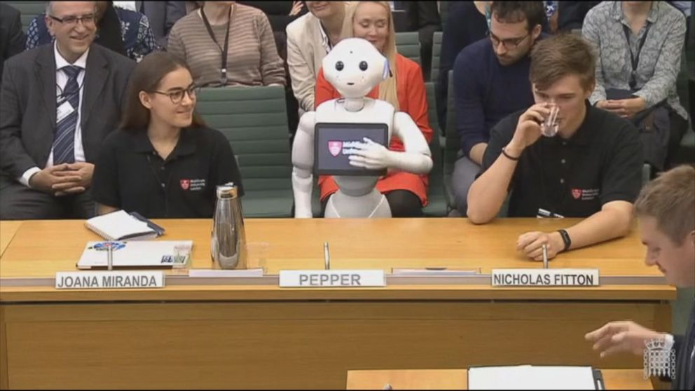 A robot presented evidence to British Parliament