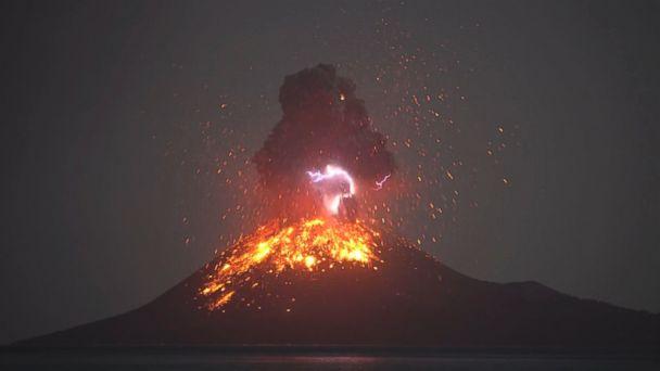 Volcanic lightning, lava lights up the sky