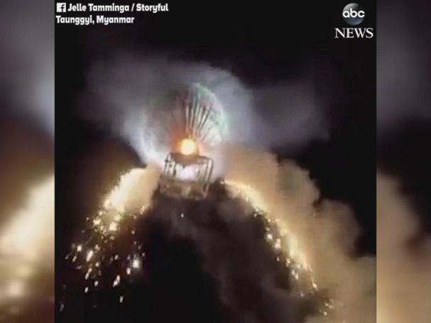 WATCH:  Hot air balloon full of fireworks explodes over festival