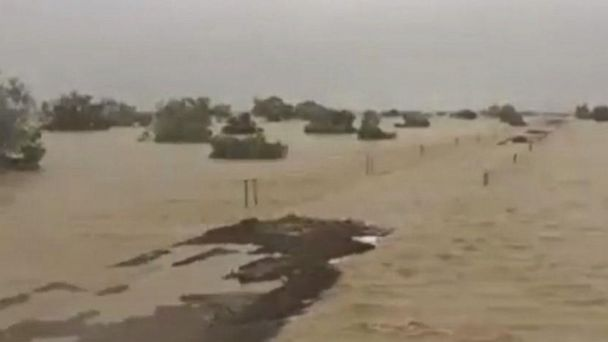 Railroad tracks disappear during Australian floods