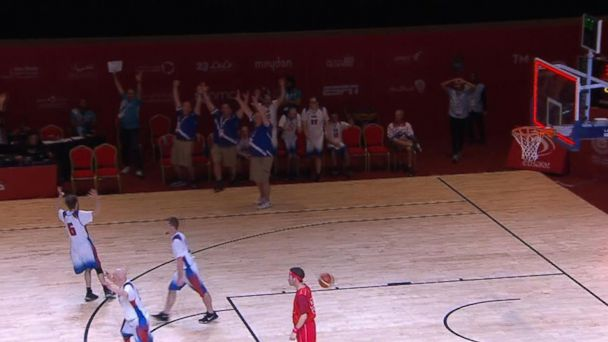 Team USA wows the crowd with incredible basketball shot at the Special Olympics