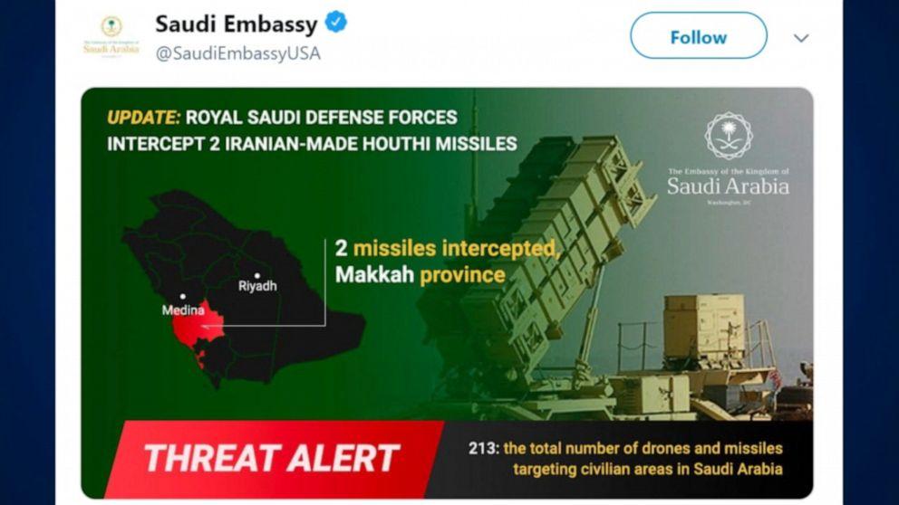 Yemen's Houthi rebels target Saudi Arabian city with drone - ABC News