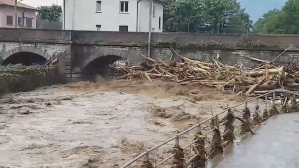 Mud flows into Lake Como due to rising water levels at dam
