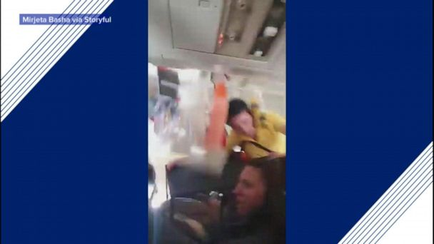 Violent turbulence throws flight attendant into ceiling