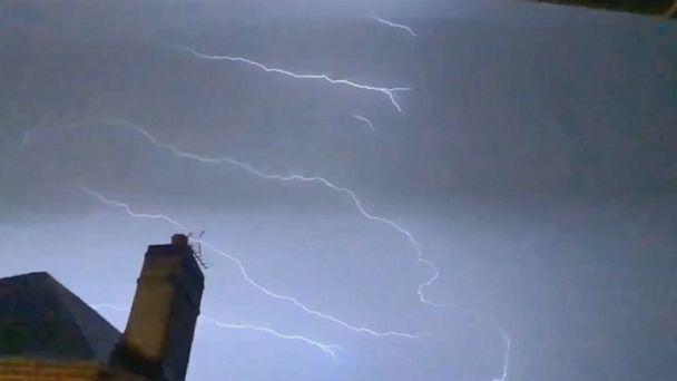 Intense lightning strikes in Normandy