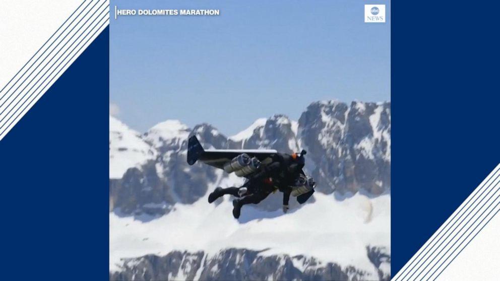 'Jetman' soars over Italian Alps in winged jet pack