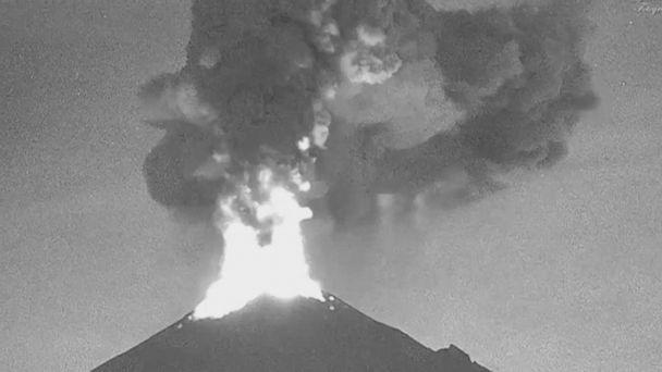 Mexico volcano spews ash column into night sky