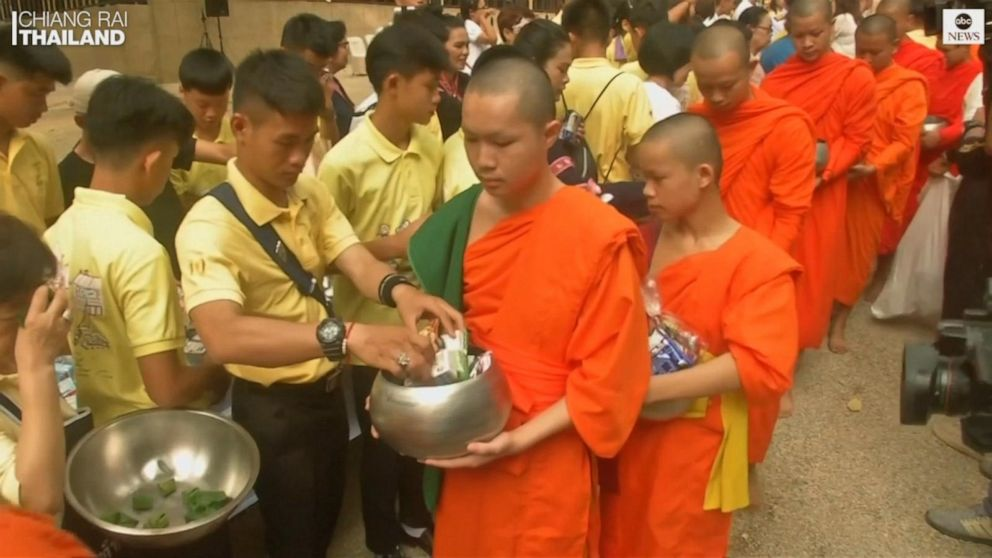 Thai soccer players mark 1 year since cave rescue with Buddhist rites