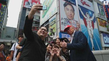 VIDEO: Trump, Kim impersonators greet crowds in Osaka