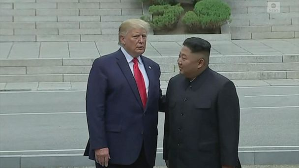Donald Trump, Kim Jong Un meet at Korean DMZ