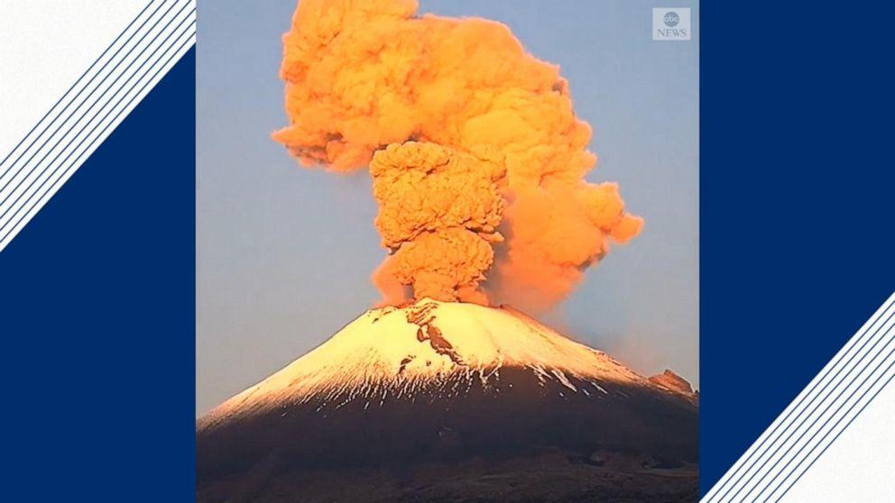 Popocatepetl volcano erupts with plume of smoke, gushing lava