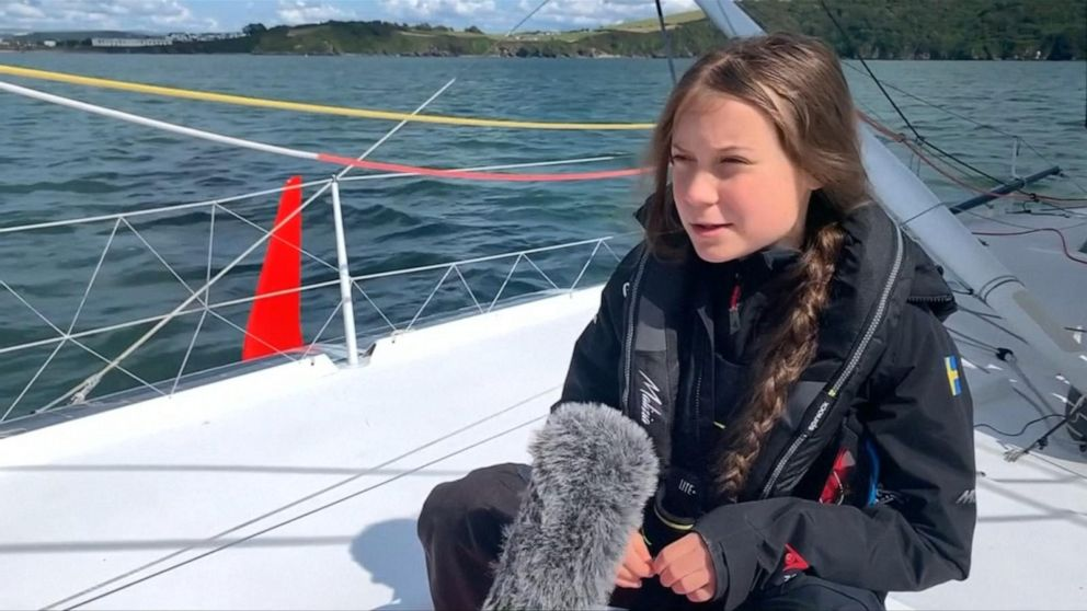 Teen climate activist Greta Thunberg arrives in New York for UN summit on sailboat